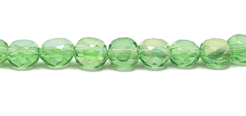 50 Frosted Light Green AB 6x4mm Faceted Flat Round Crystal Beads Green 6mm x 4mm Helix Crystal Beads Free Shipping to Canada