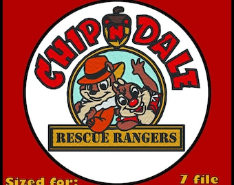 Chip and Dale Rescue Rangers Medium - Machine Embroidery File Download Digital Download