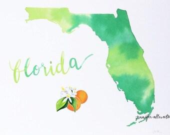 Florida watercolor state art print wall art home decor