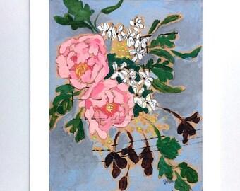 Modern floral art print flower bouquet painting wall art - A Bouquet for Susanna