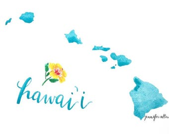 Hawaii state art print watercolor painting