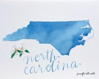 North Carolina state art watercolor art print hand lettering