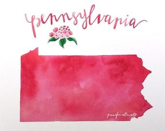 Pennsylvania state watercolor map art print hand lettering