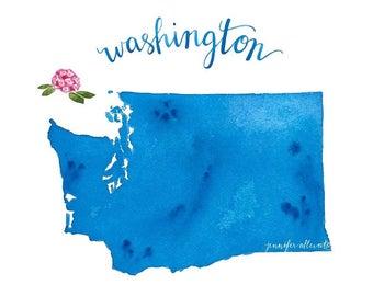 Washington state map watercolor art print