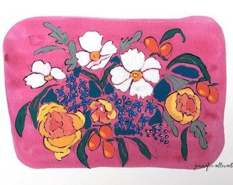 Modern floral art print illustrated flowers wall art - Fuchsia