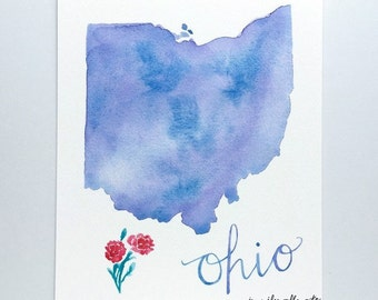 Ohio state map art print watercolor buckeye wall art