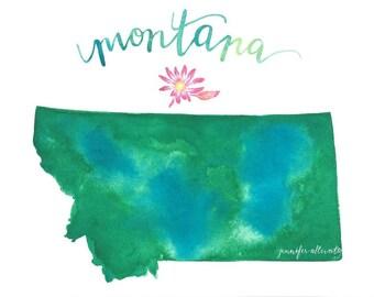 Montana map state art print watercolor