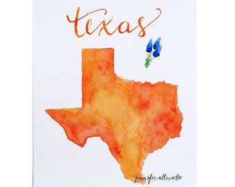 Texas state art print watercolor map home decor