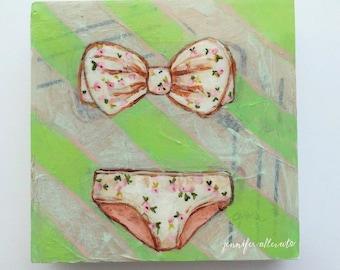 "Vintage bikini bathing suit painting summer wall art - ""Palm Beach"""