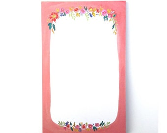Painted floral notepad flower stationery office accessory