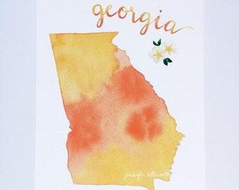Georgia state art print home decor watecolor wall art