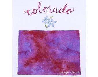 Colorado state watercolor art print hand lettering map