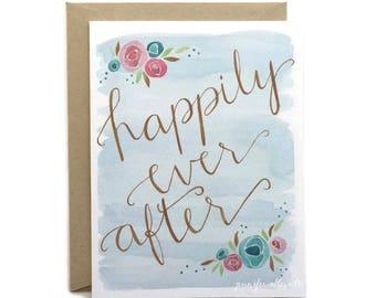 Happily Ever After wedding engagement shower card