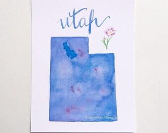 Utah watercolor art print state map hand lettering Great Salt Lake