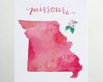 Missouri watercolor state art print hand lettering home decor