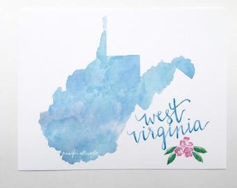 West Virginia art print blue watercolor WV state map