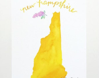 New Hampshire watercolor state art print hand lettering