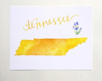 Tennessee state art print watercolor home decor yellow map