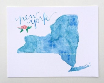 New York state art print watercolor home decor NY hand lettering