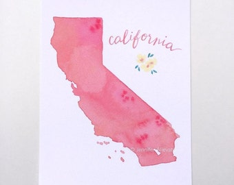 California state art watercolor print hand lettering coral