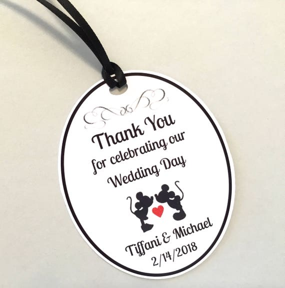 Set of 18 Bridal Shower or Wedding Favor Tags, Mickey & Minnie ...
