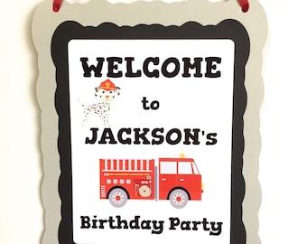 Firetruck Dalmatian Birthday Party Door Hanger Personalized with Name, Welcome Birthday Party Door Hanger Sign