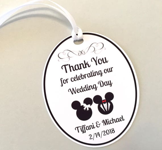 Set of 18 Bridal Shower or Wedding Favor Tags, Mickey & Minnie Bride ...