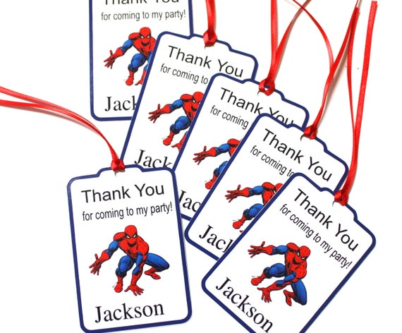 Spiderman Set Of 12 Favor Tags Personalized Birthday Party Favors Thank You Gift Super Hero Supplies