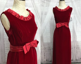 60s Red Velvet Burgundy Sheath Gown Dress Satin Bow