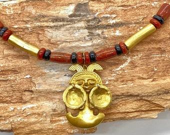 24K GP PRECOLUMBIAN COLOMBIAN COIN DANGLE EARRINGS GOLD MUSEUM COLOMBIA REPLICA