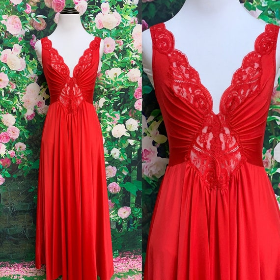 70s Olga Red Lace Nightgown Full Sweep 92270 Large