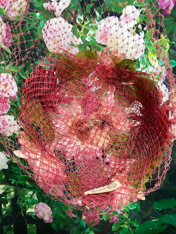 50s Pink Flower Hat Raspberry Netting - image 8