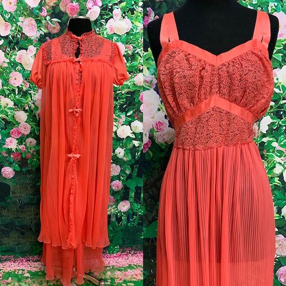 60s Seamprufe Coral Chiffon Peignoir Nightgown Set
