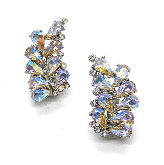 50s Rhinestone Clip Earrings Crawler Pearl Rhinestone AB Atomic Aurorea Borealis Vintage Jewelry 50s Gold tone Fan Shaped clip on earrings