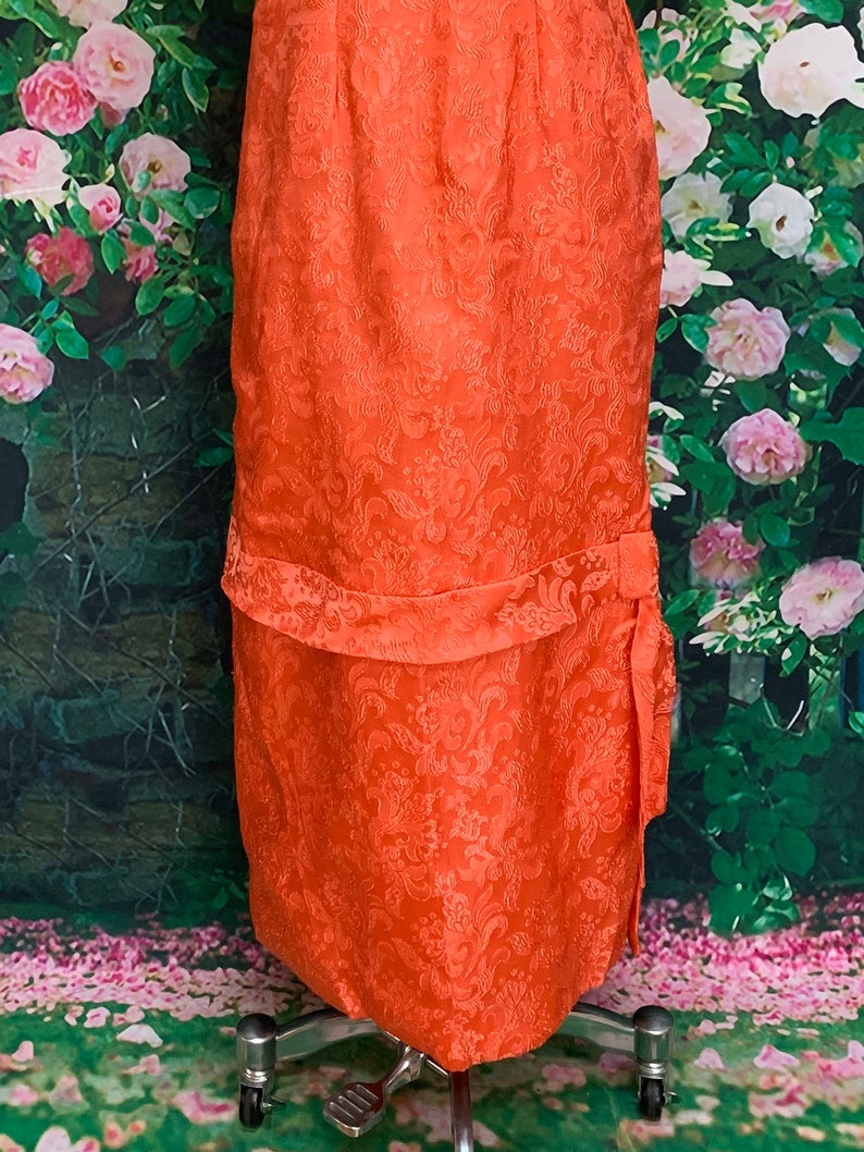 30s Pink Satin Brocade Gown Floral Party Dress