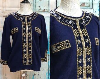 80s Blue Angora Shannan Wool Sweater Bead Sequin Appliques