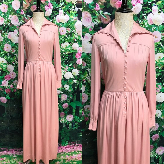 70s Teal Traina Pink Maxi Dress Polyester Button F