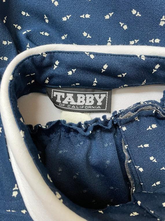 80s Navy Blue Tulip Print Secretary Dress XL - image 10