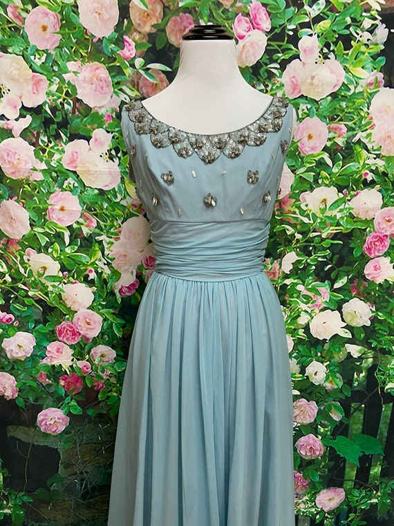 50s Blue Chiffon Party Dress Sequin Embellished N… - image 3