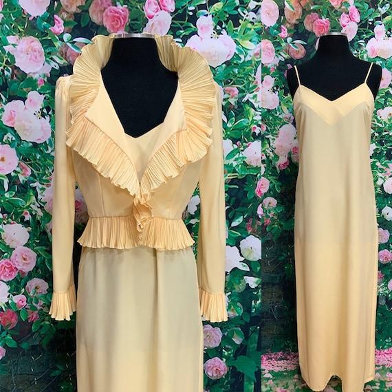 70s Yellow Slip Dress Ruffle Jacket The Gilberts f