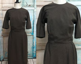50s Brown Black Stripe Day Dress Lorch of Dallas