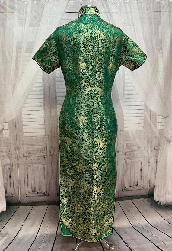 80s Green Silk Brocade Cheongsam Dress Gold Flora… - image 10