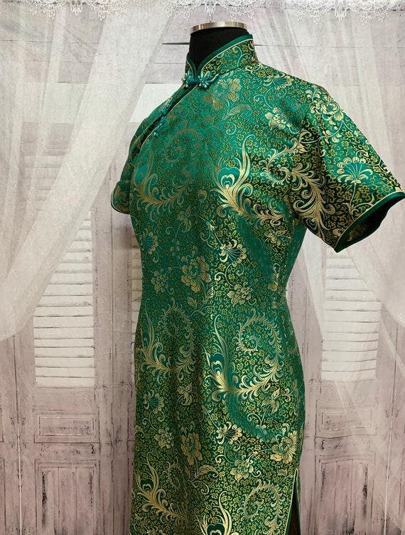 80s Green Silk Brocade Cheongsam Dress Gold Flora… - image 7