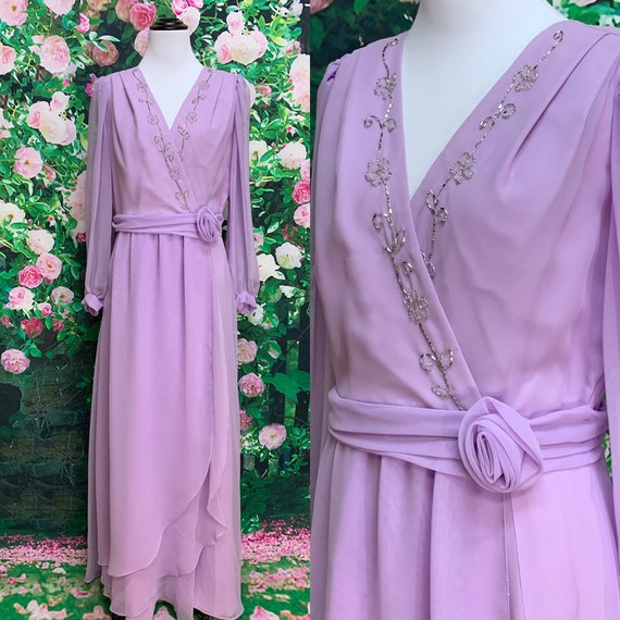 70s Lavender Chiffon Beaded Formal Evening Gown Dr