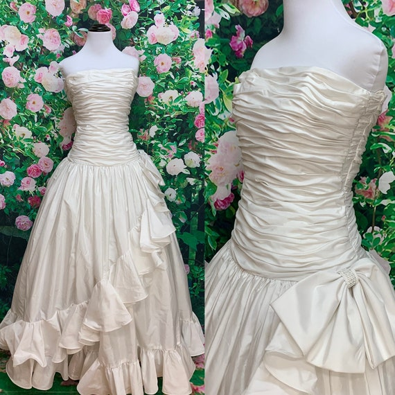 80s After Five White Satin Strapless Party Dress B