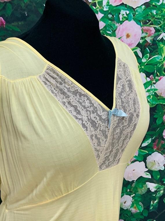 40s Philmaid Yellow Rayon Nightgown Spun Lo Large - image 5