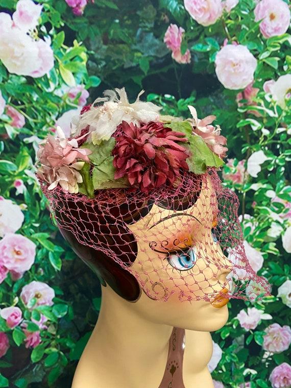 50s Pink Flower Hat Raspberry Netting - image 1