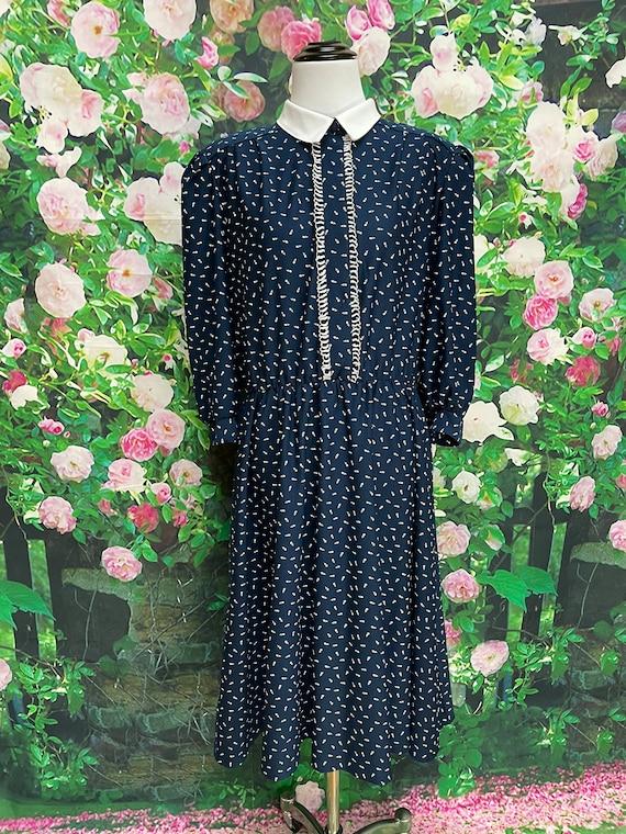 80s Navy Blue Tulip Print Secretary Dress XL - image 2