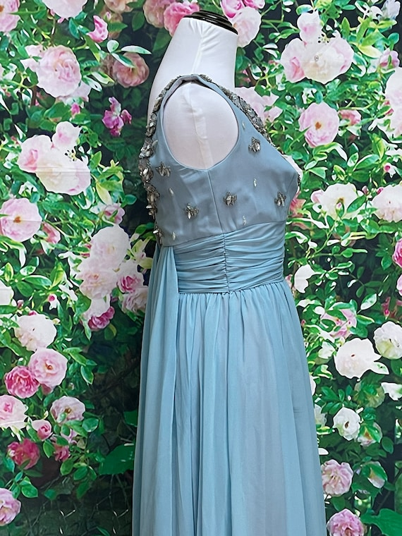 50s Blue Chiffon Party Dress Sequin Embellished N… - image 7