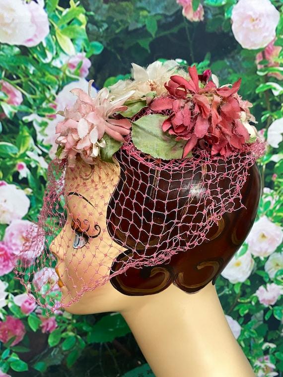 50s Pink Flower Hat Raspberry Netting - image 5